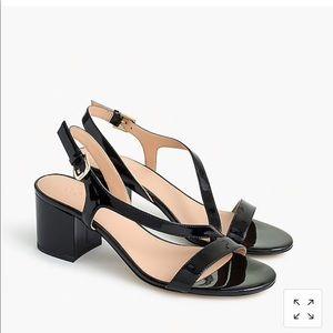J crew patent sandal, black, NWT, sz 7.5
